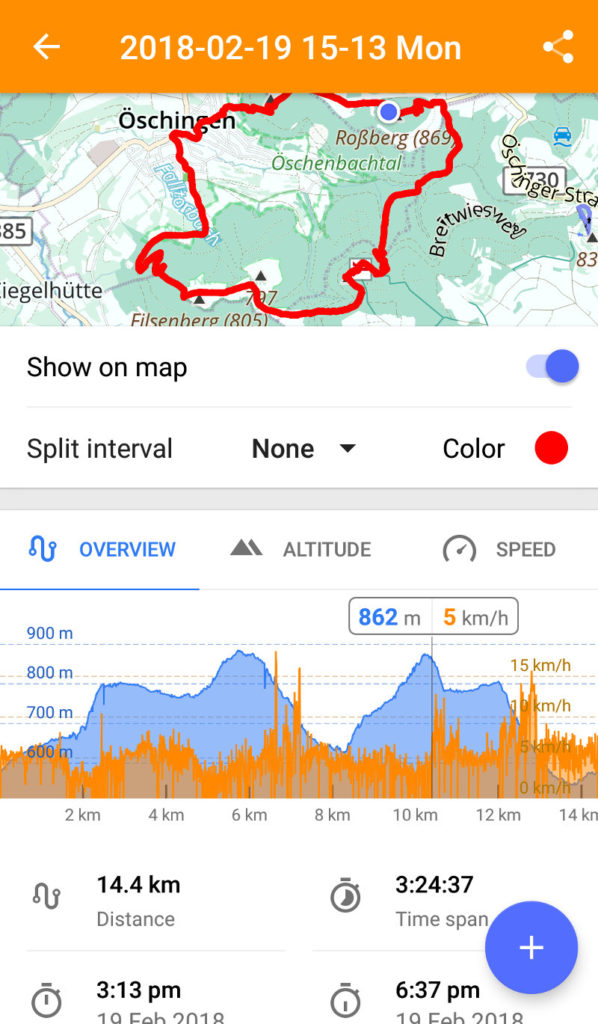 OSMAnd - Wanderungsanalyse nach Aufnahme