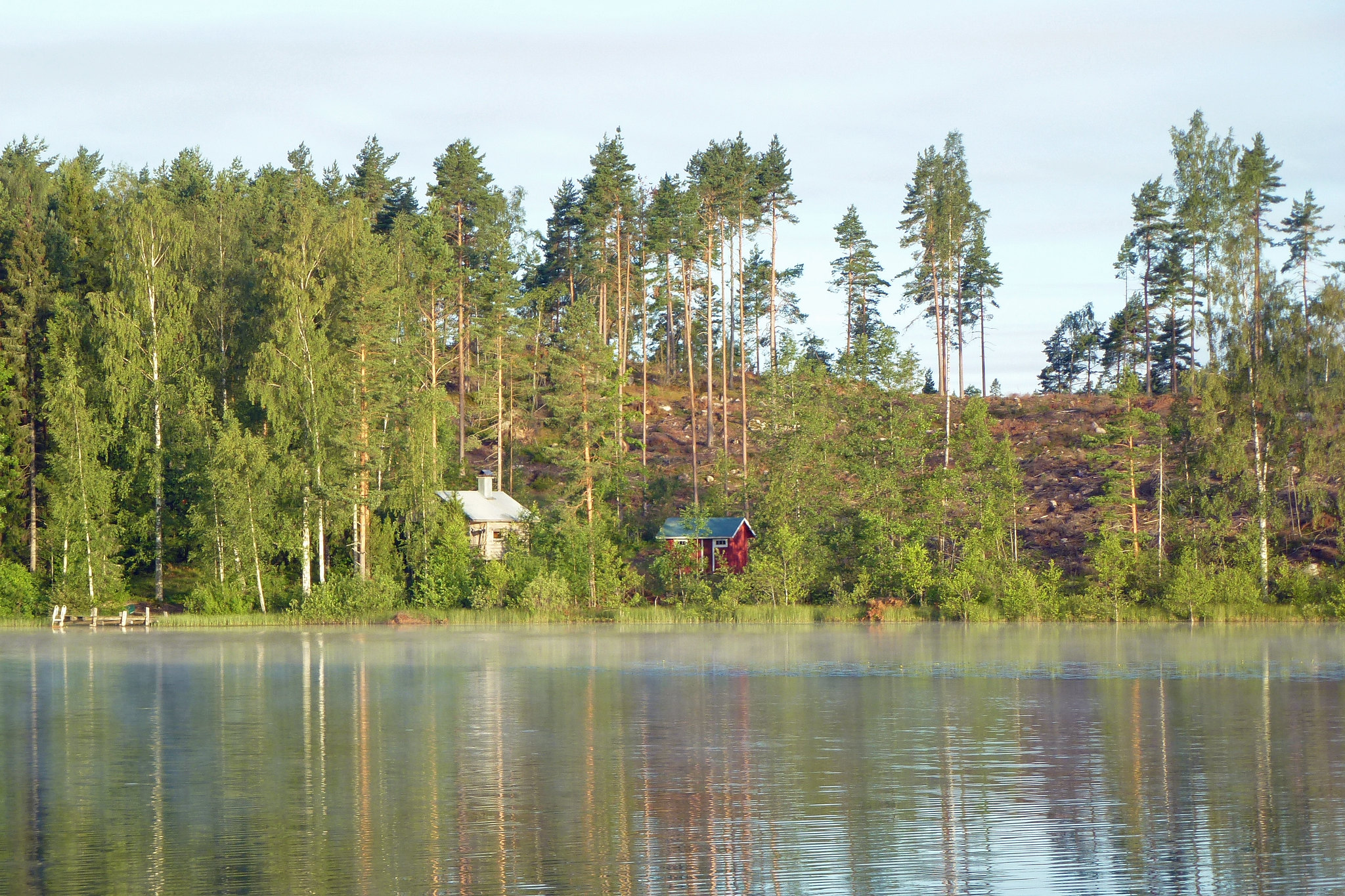 A white and a red wood house on a lake, surrounded by trees.