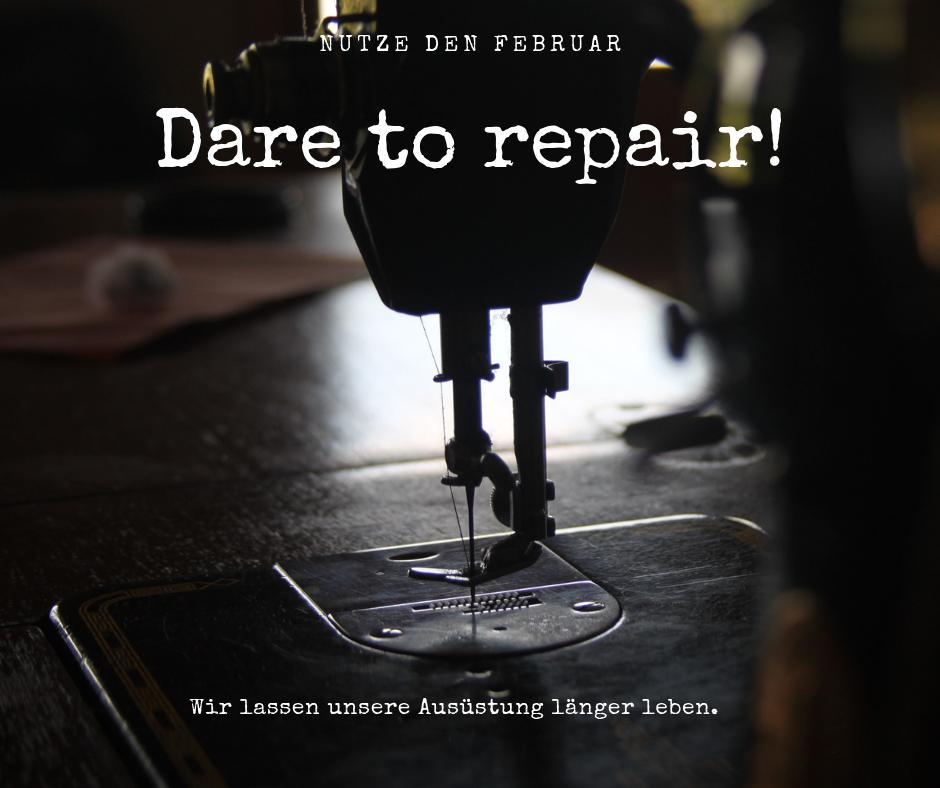 """Nähmaschinenfus mit Bild und Schrift """"Dare to repair"""""""